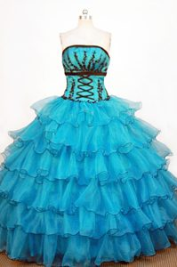 Layered Strapless Organza Teal Dresses For 15 in Cheshire