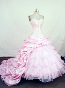 2014 Taffeta Chapel Train Pick-ups Sweet 16 Dress in Pink