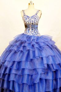 Devon Beaded Straps Blue Quinceanera Dresses with Ruffles