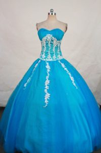 Sweetheart Blue Dresses For a Quince with Appliques 2014