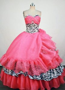 Pink Zebra Sweetheart Sweet 16 Dresses Ruffled in Bristol