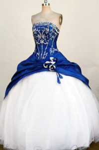 Blue Strapless Quinceanera Dresses with Bead and Appliques