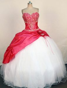 Hand Made Flower Sweetheart Red Quince Dress with Beading
