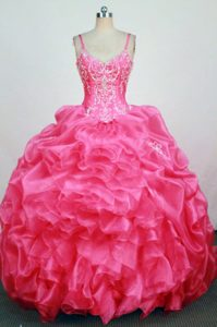 V-neck Hot Pink Straps Appliques Beaded Quinceanera Dress