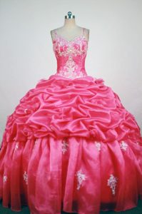 Appliques Straps Red Quinceanera Gown with Beads Pick-ups