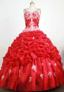 Red Spaghetti Straps Appliques Sweet Sixteen Dress Beaded