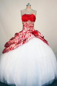 Printing Zebra Red and White Beading Tulle Quinceanera Dresses