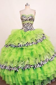 Zebra Spring Green Rhinestones Layered Dresses for Quinceanera