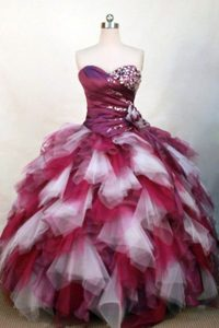 Tiered Layers White and Burgundy Organza Beaded Quinceanera Dress