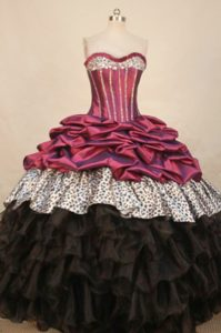 Leopard Beading Burgundy and Black Ruffled Quinceanera Dresses