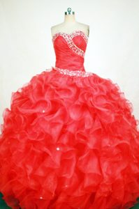 Ruching Beaded Red Quinceanera Dresses with Ruffles in Launceston