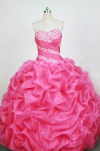 Beaded Rose Pink Ruching Pick-ups Sweet 16 Dress for Quinceanera