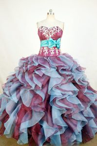 New Sweetheart Colored Appliques Quinceanera Dresses with Bowknot