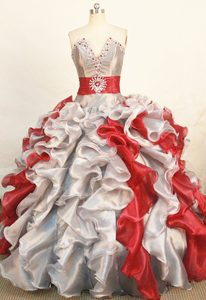 V-neck Sliver and Red Rhinestones Ruched Ruffles Quinceanera Dress