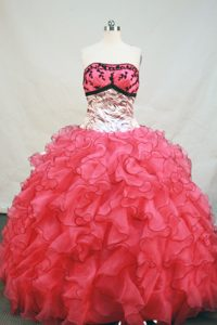 Zebra Embroidery Watermelon Quinceanera Dress with Ruffles Layered
