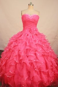 Ruching Beaded Sweetheart Watermelon Flowers Quinceanera Dresses