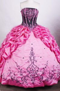 Beaded Embroidery Pink Pick-ups Corset Back Quinceanera Dresses