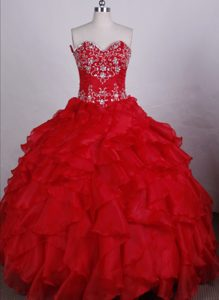 Red Appliques Beading Townsville Quinceanera Dress with Ruffles