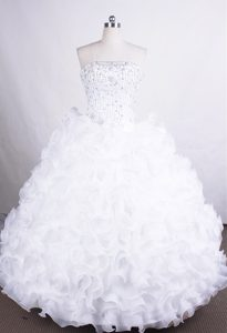 Beading Ruffled Layers White Organza Dresses for Quinceaneras