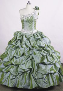 One Shoulder Flower Olive Green Appliques Beaded Quinceanera Dress