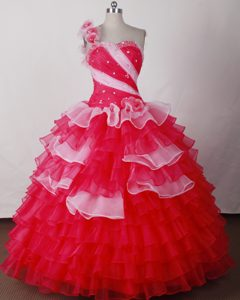Hand Made Flowers One Shoulder Colored Layers Quinceanera Dresses