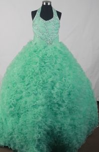 Layered Ruffles Halter Apple Green Beading Quinceanera Dresses