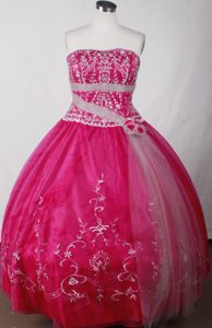 Appliques Beaded Hot Pink Quinceanera Dress with Hand Made Flowers