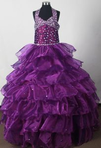 Beading Halter Eggplant Purple Tired Organza Quinceanera Dresses
