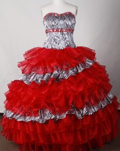 Zebra Layered Red Organza Beading Quinceanera Dress with Ruffles