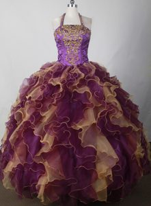 Halter Multi-colored Appliques Beaded Sweet 15 Quinceanera Dress