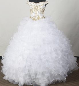 Off The Shoulder Beading White Quinceanera Dresses with Ruffles