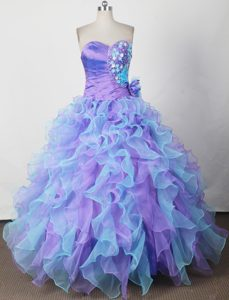 Colorful Appliques Ruched Quinceanera Dress with Hand Made Flower