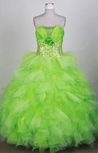 Sequined Hand Made Flowers Spring Green Ruffled Quinceanera Dress