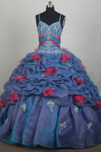 Appliques Beaded Pick-ups Quinceanera Dress with Spaghetti Straps