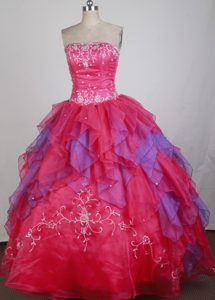 Multi-colored Appliques Ruffled Sweet 16 Dresses for Quinceanera