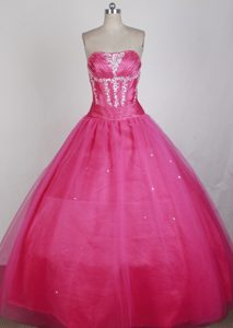 Ruching Appliques Hot Pink Sweet 16 Quinceanera Dress in Gladstone