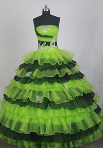 Tiered Spring Green and Black Quinceanera Dresses with Appliques