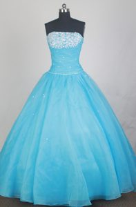 Most Popular Ball Gown Aqua Blue Beading Ruched Quinceanera Dresses
