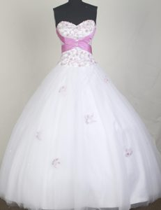 Appliques Sweetheart White Bundaberg Sweet 16 Dress for Quinceanera