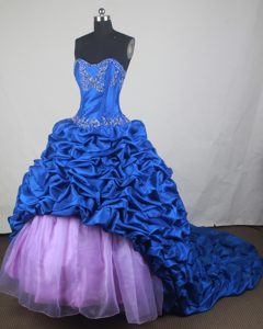 Blue Appliques Lilac Tulle Quinceanera Dresses with Court Train