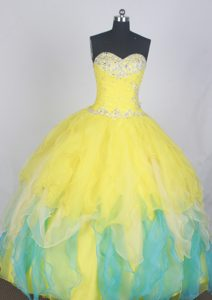New Ruched Sweetheart Yellow and Blue Layered Quinceanera Dresses