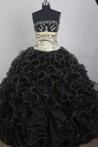 Zebra Appliques Black Sash Beading Sweet 16 Dress for Quinceanera