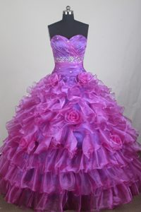 Tiered Organza Ruched Beading Fuchsia Dresses for Sweet Quinceanera