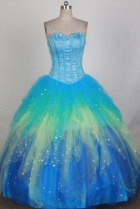 Beading Colorful Blue Sweetheart Quinceanera Dresses in Liverpool
