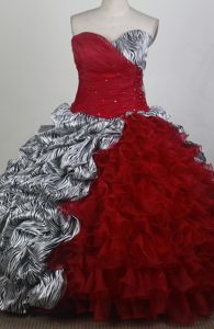Zebra Ruched Beading Red Quinceanera Dresses in Hamilton Ontario