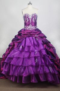 Appliques Purple Sweetheart Quinceanera Dresses with Brush Train