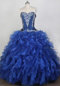 Embroidery Blue Organza Ruffled Quinceanera Dresses in Mississauga