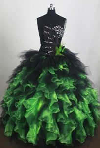 Ruffled Green and Black Beading Quinceanera Dresses in Montreal