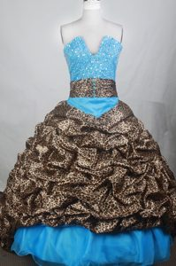 Leopard V-neck Blue Beaded Quinceanera Dresses with Brush Train