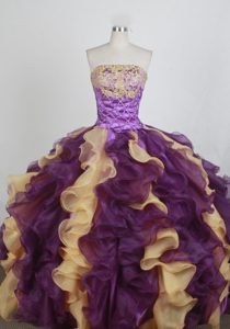 Colorful Detachable Appliques Ruffles Ottawa Quinceanera Dress